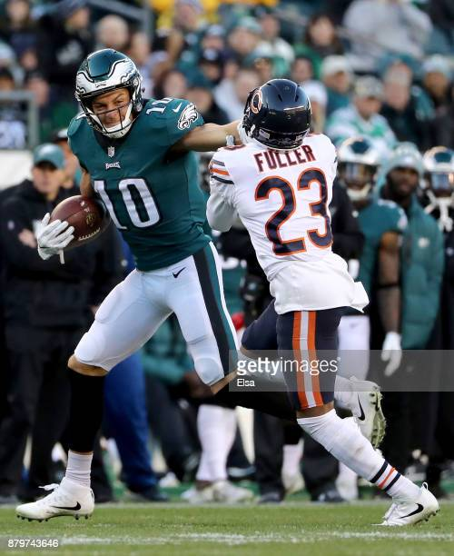 Mack Hollins of the Philadelphia Eagles carries the ball as Kyle Fuller of the Chicago Bears defends on November 26 2017 at Lincoln Financial Field...