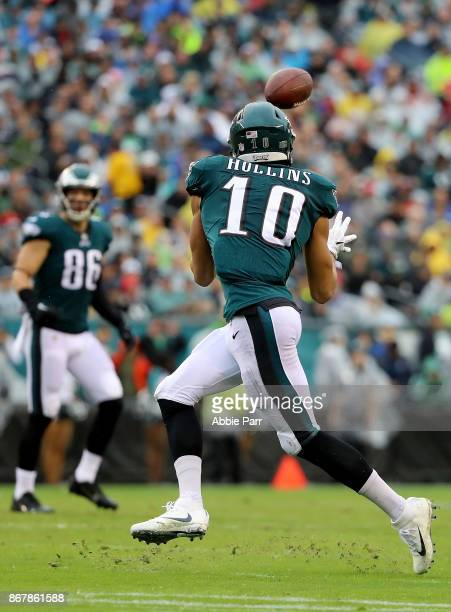 Mack Hollins of the Philadelphia Eagles catches the ball for a first down in the second quarter against the San Francisco 49ers during their game at...