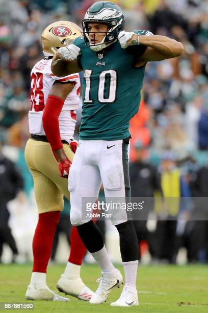 Mack Hollins of the Philadelphia Eagles reacts after completing a pass for a first down against the San Francisco 49ers in the second quarter against...