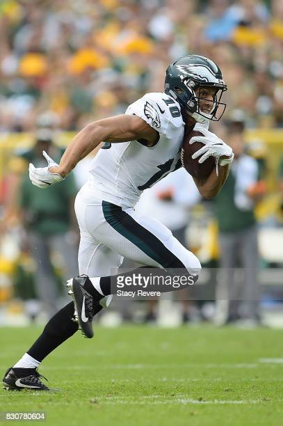 Mack Hollins of the Philadelphia Eagles runs for yards during a preseason game against the Green Bay Packers at Lambeau Field on August 10 2017 in...