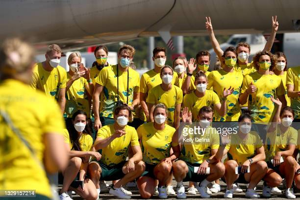 Mack Horton and Australian Athletes pose for a group photo at Cairns Airport as they head to Tokyo for the 2020 Olympic Games on July 17, 2021 in...