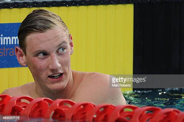 Mack Horton looks back to the time clock after winning the final of the Mens 1500 metre Freestyle event during the 2014 Australian Swimming...