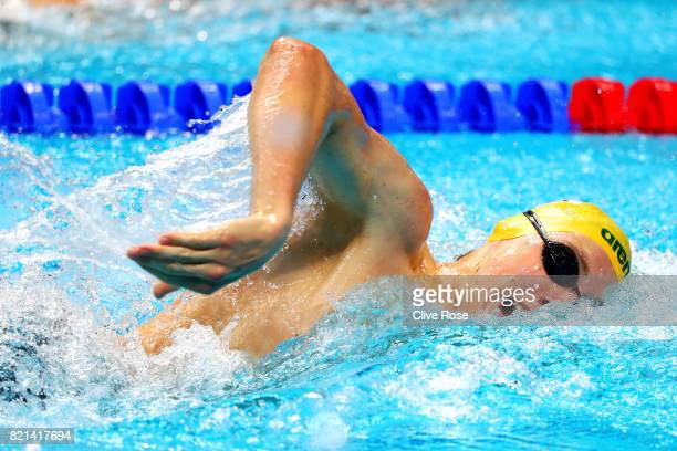 Mack Horton of Australia competes during the Men's 200m Freestyle Heats on day eleven of the Budapest 2017 FINA World Championships on July 24 2017...