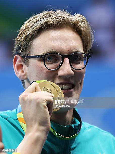 Mack Horton of Australia poses with his Gold medal from the Men's 400m Freestyle on Day 1 of the Rio 2016 Olympic Games at the Olympic Aquatics...