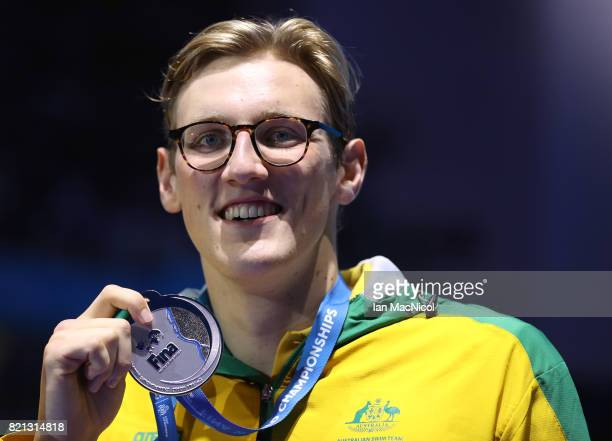 Mack Horton of Australia poses with his silver medal from the Men's 400m Freestyle during day ten of the FINA World Championships at the Duna Arena...