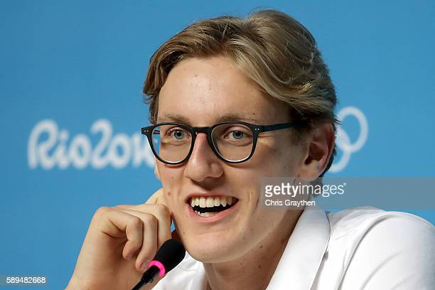 Mack Horton of Australia speaks during a press conference at the Main Press Centre on August 14 2016 in Rio de Janeiro Brazil