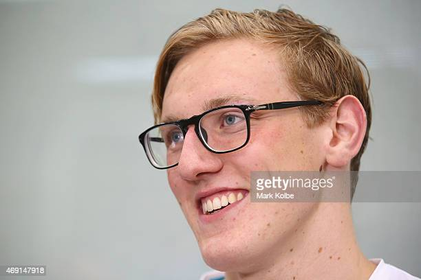 Mack Horton speaks to the media about his victory in the Men's 1500 metre Freestyle Final during day eight of the Australian National Swimming...