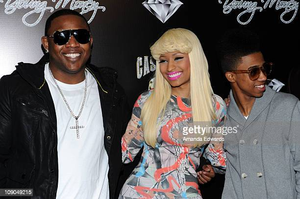 Mack Maine Nicki Minaj and Lil Twist arrive at the Cash Money Records Annual PreGrammy Awards Party at The Lot on February 12 2011 in West Hollywood...