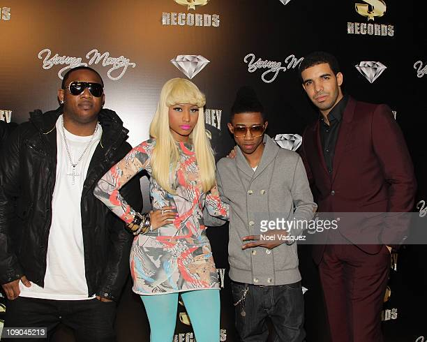 Mack Maine Nicki Minaj Lil Twist and Drake attends the Cash Money Records Annual PreGRAMMY Party at The Lot on February 12 2011 in West Hollywood...