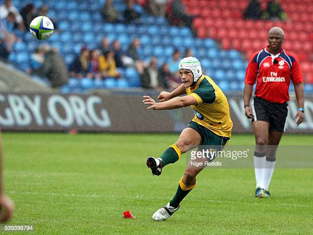 Mack Mason of Australia scores a conversion during the World Rugby U20 Championship match between Australia and Italy at AJ Bell Stadium on June 11...