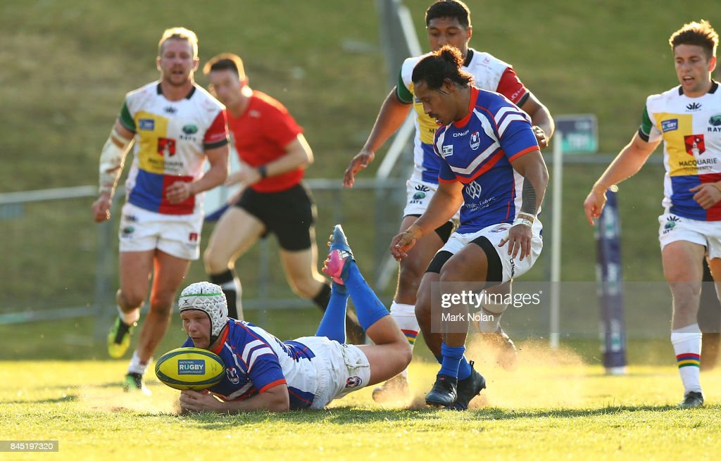 Mack Mason of the Rams grounds the ball in goal during the round two NRC match between the Rays and the Rams at Macquarie Uni on September 10, 2017 in Sydney, Australia.