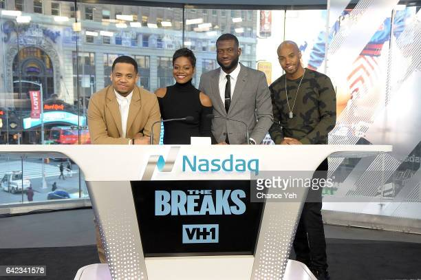 Mack Wilds Afton Williamson Sinqua Walls and Antoine Harris of Vh1's 'The Breaks' attends the Nasdaq opening bell at NASDAQ on February 17 2017 in...