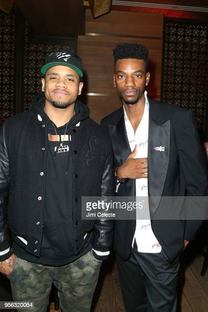 Mack Wilds and Jermaine Crawford attend the Farenheit 451 New York premiere after party at Tao Downton on May 8 2018 in New York New York