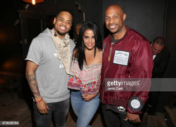 Mack Wilds Anel Pla and Roc96 Founder Kareem 'Biggs' Burke attend Roc96 x Madeworn Barney's Launch Event at Madeworn Studios on May 4 2017 in Los...