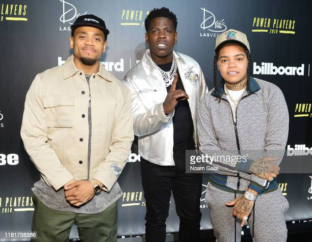 Mack Wilds Casanova and Young MA attend Billboard 2019 Hip Hop Power Players at Union West Events on October 17 2019 in New York City