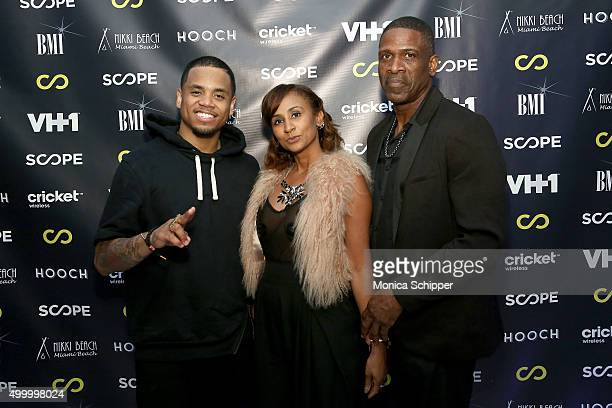 Mack Wilds Danielle Koping and Dwyane Wade Sr attend VH1's The Breaks Lounge Scope Official Party on December 4 2015 in Miami Beach Florida