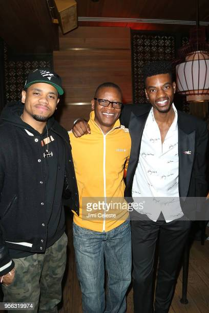Mack Wilds Lawrence Gilliard Jr and Jermaine Crawford attend the Farenheit 451 New York premiere after party at Tao Downton on May 8 2018 in New York...