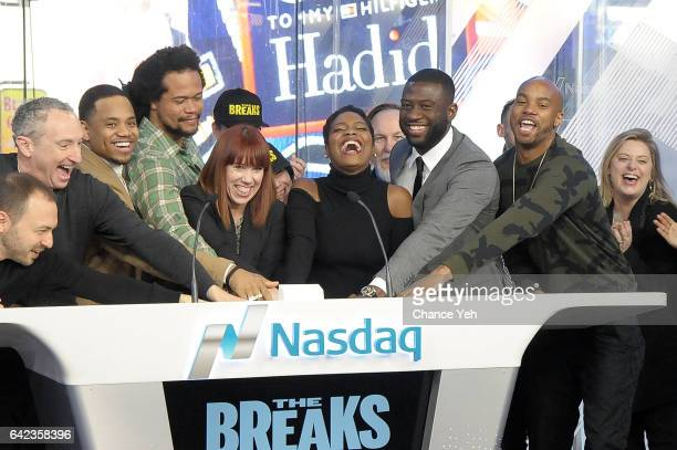 Mack Wilds Seith Mann Amy Doyle Afton Williamson Sinqua Walls and Antoine Harris of Vh1's 'The Breaks' ring the Nasdaq opening bell at NASDAQ on...