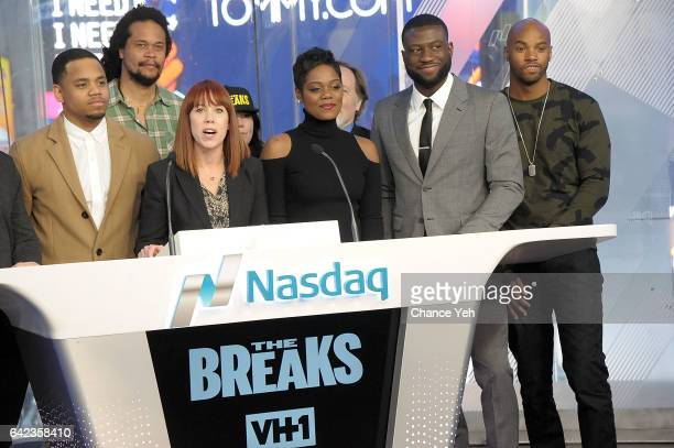 Mack Wilds Seith Mann Amy Doyle Afton Williamson Sinqua Walls and Antoine Harris of Vh1's 'The Breaks' attend the Nasdaq opening bell at NASDAQ on...
