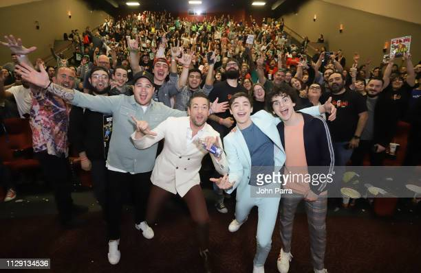 "Mack, Zachary Levi, Asher Angel and Jack Dylan Grazer pose with the fans at Miami Red Carpet Screening of ""SHAZAM!"" on March 7, 2019 in Miami,..."
