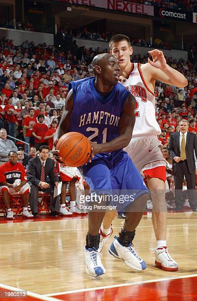 Mackel Purvis of the Hampton Pirates looks to pass against the Maryland Terrapins during the game at Comcast Center on January 8 2003 in College Park...