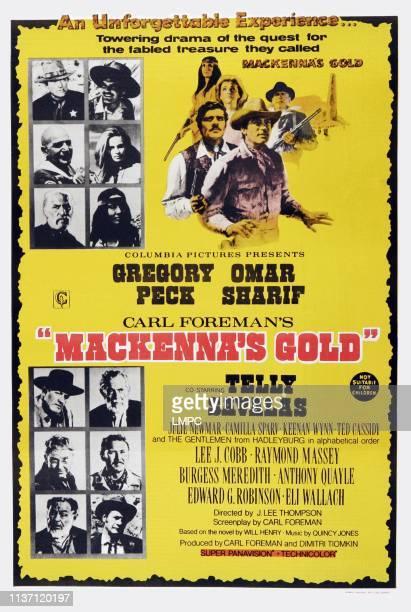 Mackenna's Gold poster Australian poster#10top left clockwise Gregory Peck Omar Sharif Camilla Sparv Julie Newmar Keenan Wynn Telly Savalas 1969