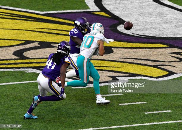 Mackensie Alexander of the Minnesota Vikings breaks up a pass to Danny Amendola of the Miami Dolphins in the first quarter of the game at US Bank...