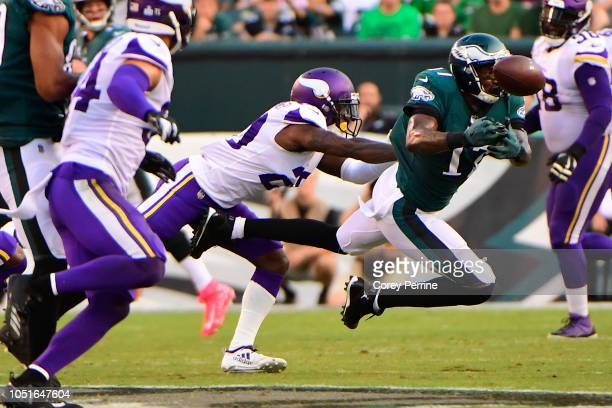 Mackensie Alexander of the Minnesota Vikings defends while breaking up a pass to Alshon Jeffery of the Philadelphia Eagles during the second quarter...