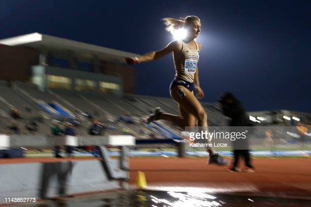 Mackenzie Andrews of Akron competes in the 3000 meter steeplechase on the first day of the 61st Mt SAC Relays at Murdock Stadium at El Camino College...