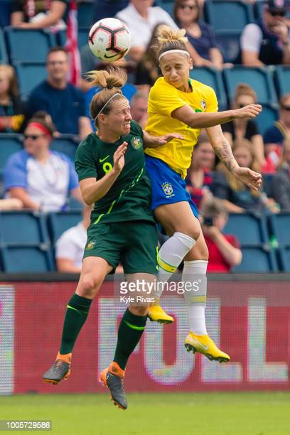 Mackenzie Arnold of Australia heads the ball past Juliana of Brazil during the first half of the 2018 Tournament Of Nations on July 26 2018 at...
