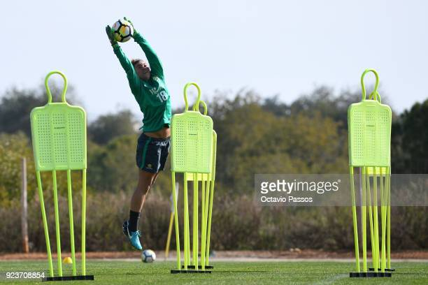 Mackenzie Arnold of the Matildas in action during a Matildas training session on February 24 2018 in Faro Portugal