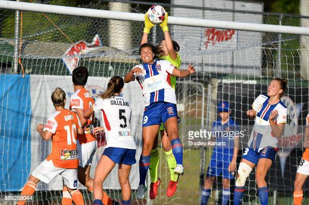 Mackenzie Arnold of the Roar saves a goal during the round seven WLeague match between the Brisbane Roar and the Newcastle jets at AJ Kelly Reserve...