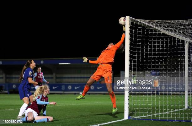 Mackenzie Arnold of West Ham United fails to save the ball leading to Fran Kirby of Chelsea scoring her team's fifth goal during the FA Women's...