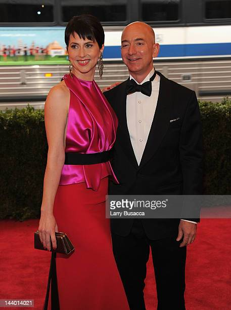 Mackenzie Bezos and Jeff Bezos attend the Schiaparelli And Prada Impossible Conversations Costume Institute Gala at the Metropolitan Museum of Art on...