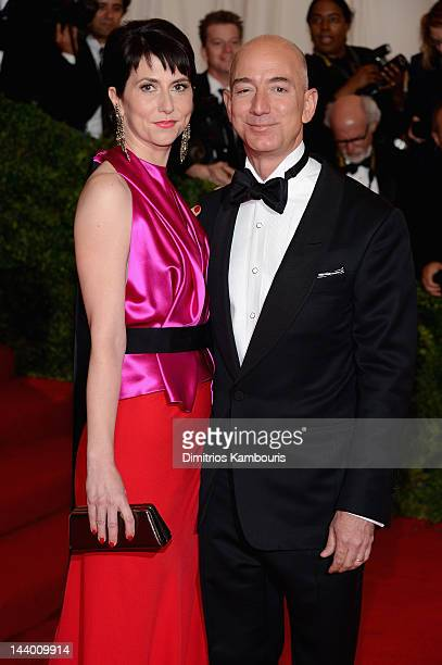 Mackenzie Bezos and Jeff Bezos founder and chief executive officer of Amazoncom attend the Schiaparelli And Prada Impossible Conversations Costume...