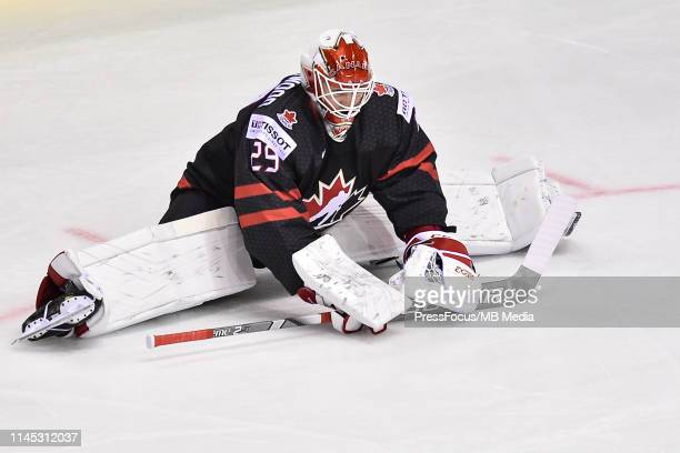 Mackenzie Blackwood of Canada stretches during the 2019 IIHF Ice Hockey World Championship Slovakia group A game between Canada and Denmark at Steel...