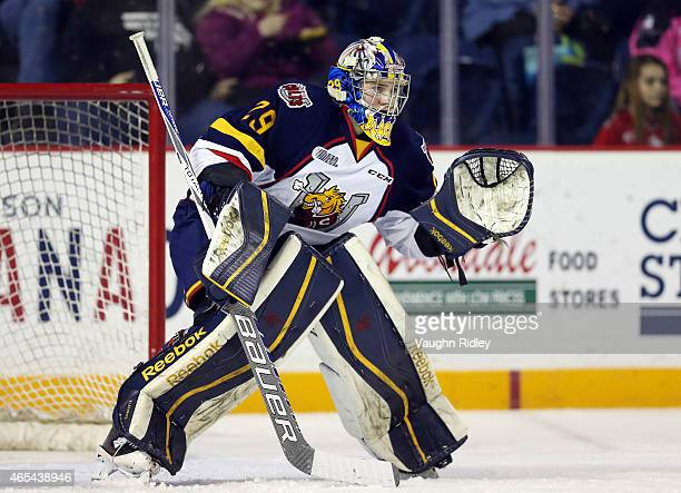Mackenzie Blackwood of the Barrie Colts keeps his eye on the puck during an OHL game against the Niagara IceDogs at the Meridian Centre on March 5...