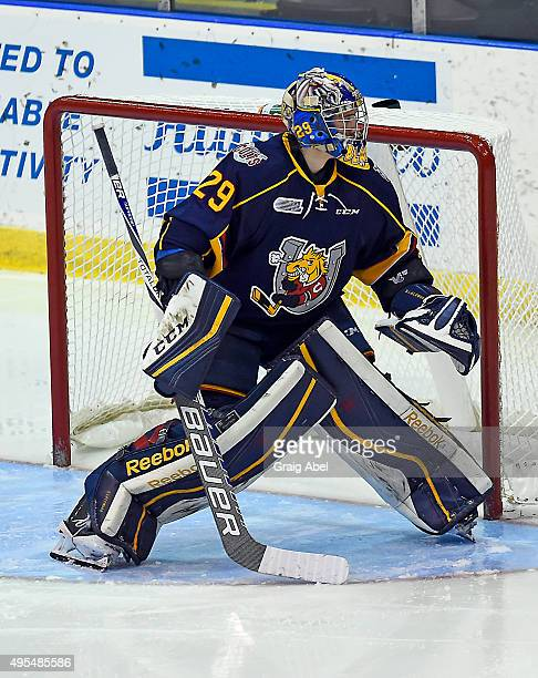 Mackenzie Blackwood of the Barrie Colts prepares for a shot against the Mississauga Steelheads during OHL game action on November 1 2015 at the...