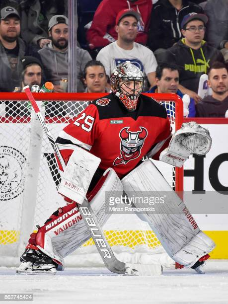 Mackenzie Blackwood of the Binghamton Devils protects his net against the Laval Rocket during the AHL game at Place Bell on October 13 2017 in Laval...
