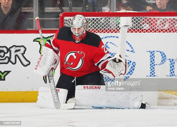 Mackenzie Blackwood of the New Jersey Devils defends his net against the Carolina Hurricanes during the game at Prudential Center on December 29 2018...