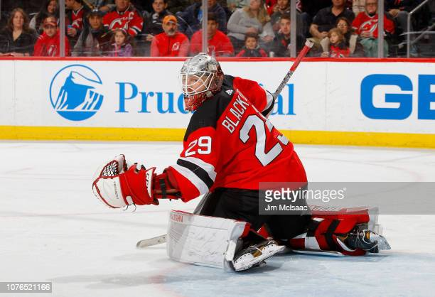 Mackenzie Blackwood of the New Jersey Devils in action against the Vancouver Canucks at Prudential Center on December 31 2018 in Newark New Jersey...