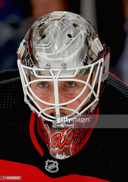 Mackenzie Blackwood of the New Jersey Devils looks on against the New York Rangers during the game at Prudential Center on April 1 2019 in Newark New...