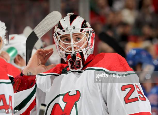 Mackenzie Blackwood of the New Jersey Devils looks on during a stop in play against the New York Rangers at Prudential Center on November 30 2019 in...