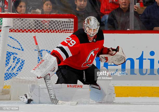 Mackenzie Blackwood of the New Jersey Devils makes a save during the second period against the Vancouver Canucks at Prudential Center on December 31...