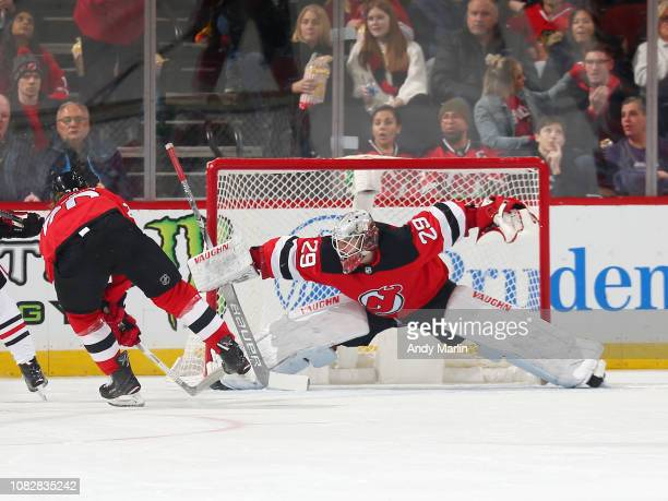 Mackenzie Blackwood of the New Jersey Devils makes a save during the first period against the Chicago Blackhawks at the Prudential Center on January...