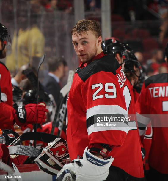 Mackenzie Blackwood of the New Jersey Devils prepares to play against the New York Rangers at the Prudential Center on September 20 2019 in Newark...
