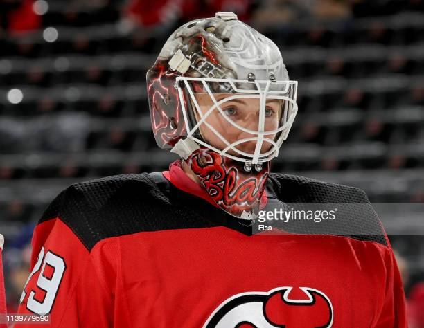 Mackenzie Blackwood of the New Jersey Devils skates during warm ups before the game against the New York Rangers at Prudential Center on April 01...