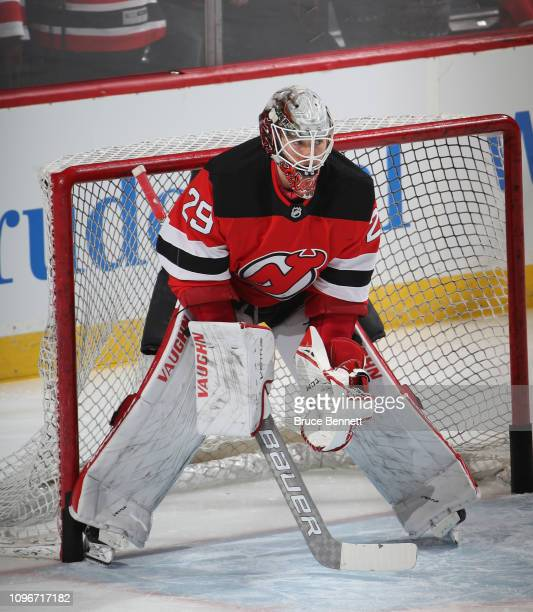 Mackenzie Blackwood of the New Jersey Devils skates in warmups prior to the game against the Anaheim Ducks at the Prudential Center on January 19...