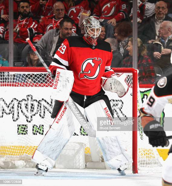 Mackenzie Blackwood of the New Jersey Devils tends net against the Anaheim Ducks at the Prudential Center on January 19 2019 in Newark New Jersey The...