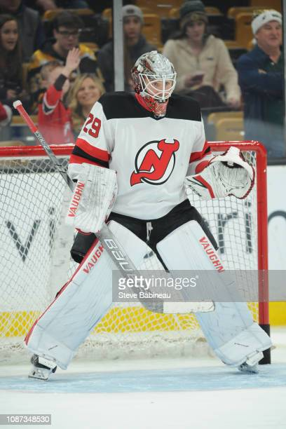 Mackenzie Blackwood of the New Jersey Devils warms up before the game against the Boston Bruins at the TD Garden on December 27 2018 in Boston...
